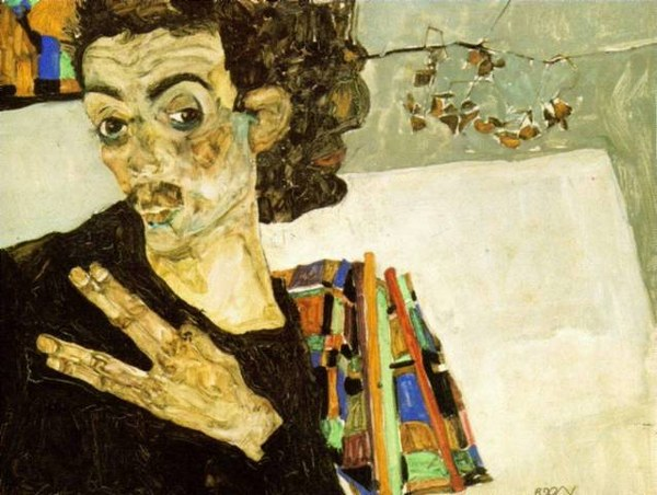 Egon Schiele, Self Portrait With Black Vase