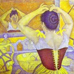 Paul Signac, Woman at her toilette wearing a purple corset